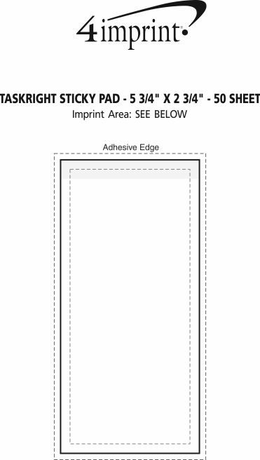 "Imprint Area of TaskRight Sticky Pad - 5 3/4"" x 2 3/4"" - 50 Sheet"