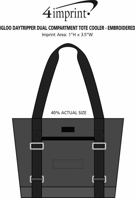 Imprint Area of Igloo Daytripper Dual Compartment Tote Cooler - Embroidered