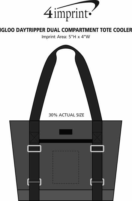 Imprint Area of Igloo Daytripper Dual Compartment Tote Cooler