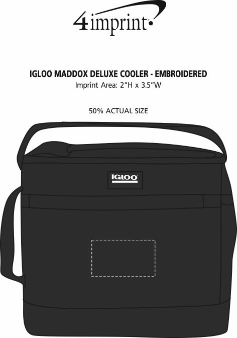 Imprint Area of Igloo Maddox Deluxe Cooler - Embroidered