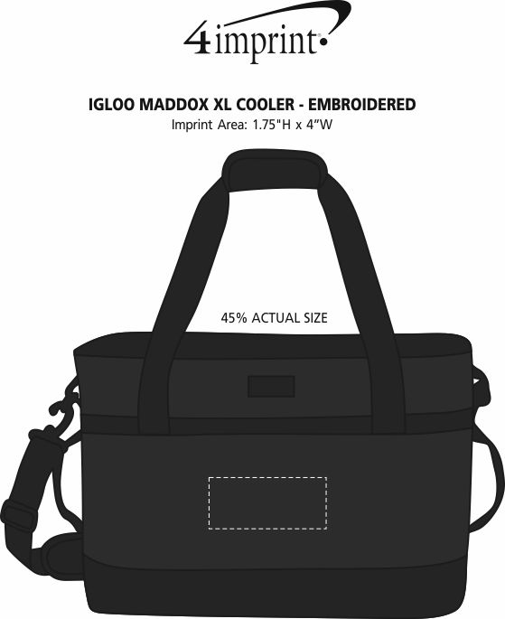 Imprint Area of Igloo Maddox XL Cooler - Embroidered
