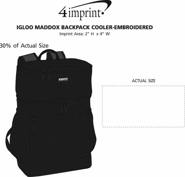 Imprint Area of Igloo Maddox Backpack Cooler - Embroidered