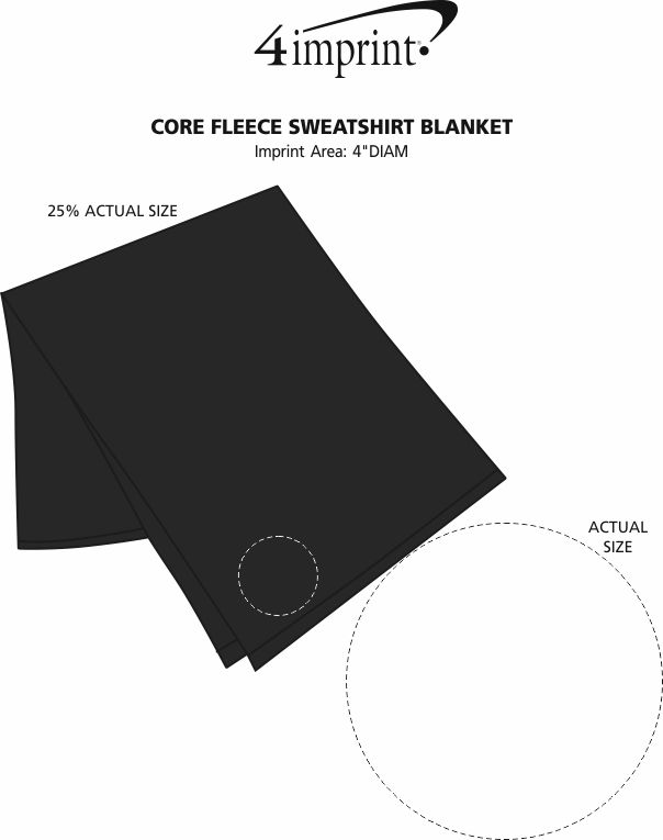 "Imprint Area of Core Fleece Sweatshirt Blanket - 50"" x 60"""