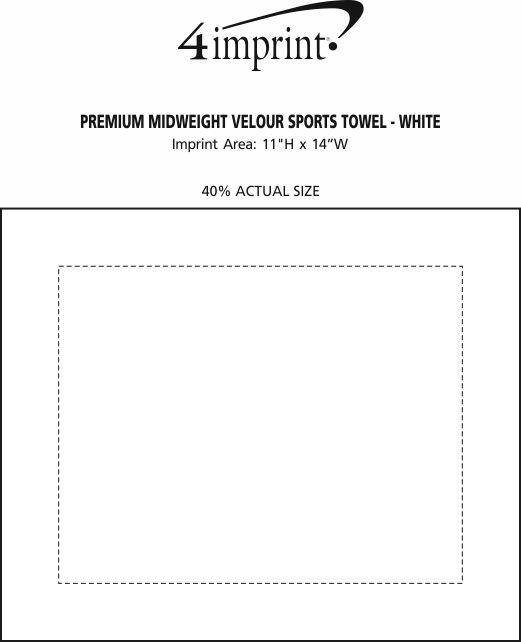 Imprint Area of Premium Midweight Velour Sports Towel - White