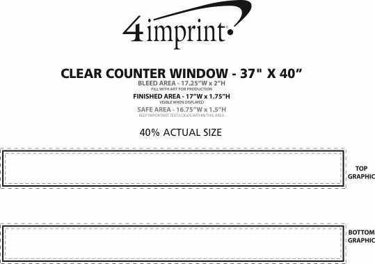 """Imprint Area of Clear Counter Window - 37"""" x 40"""""""