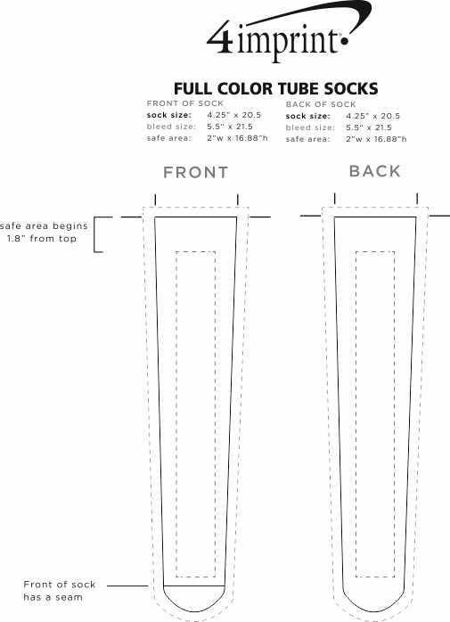 Imprint Area of Full Color Tube Socks