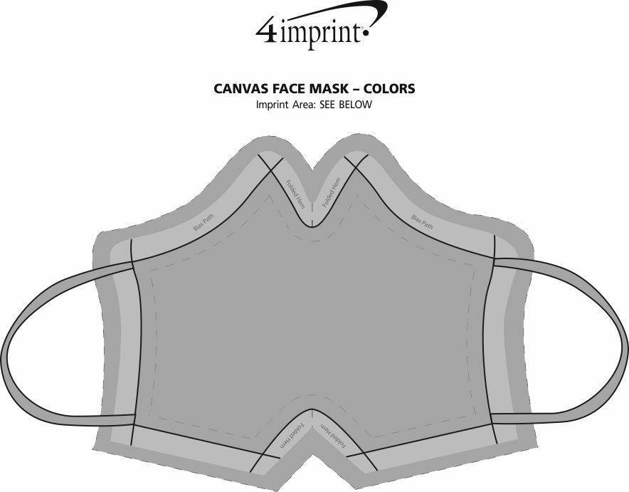Imprint Area of Canvas Face Mask - Colors