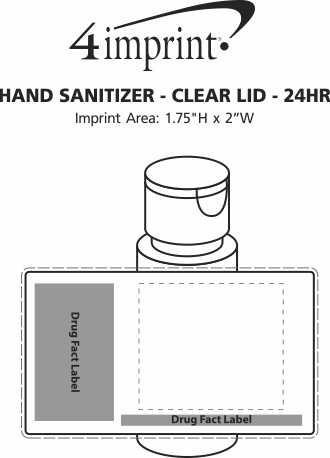 Imprint Area of 2 oz. Hand Sanitizer - Clear Lid - 24 hr