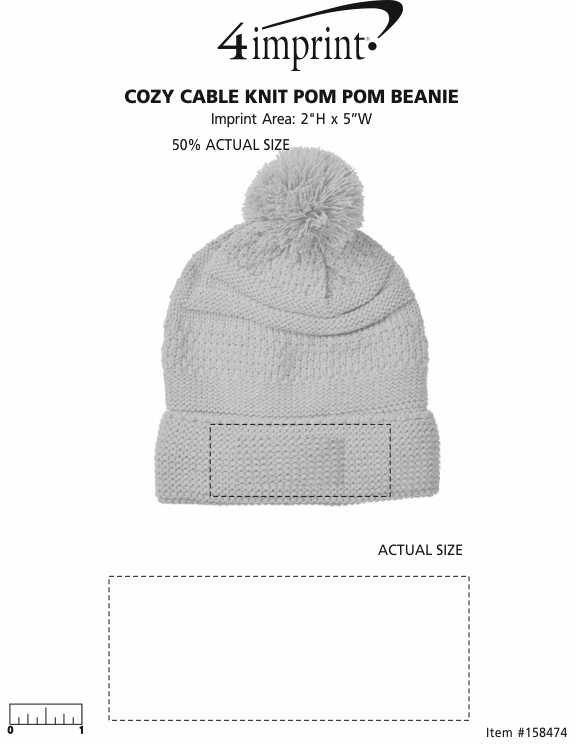 Imprint Area of Cozy Cable Knit Pom Pom Beanie