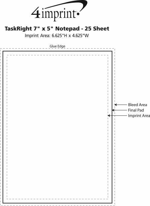 "Imprint Area of TaskRight 7"" x 5"" Notepad - 25 Sheet - 24 hr"