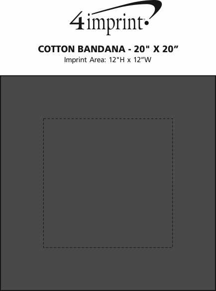 "Imprint Area of Cotton Bandana - 20"" x 20"""