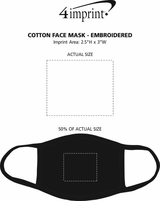Imprint Area of Cotton Face Mask - Embroidered