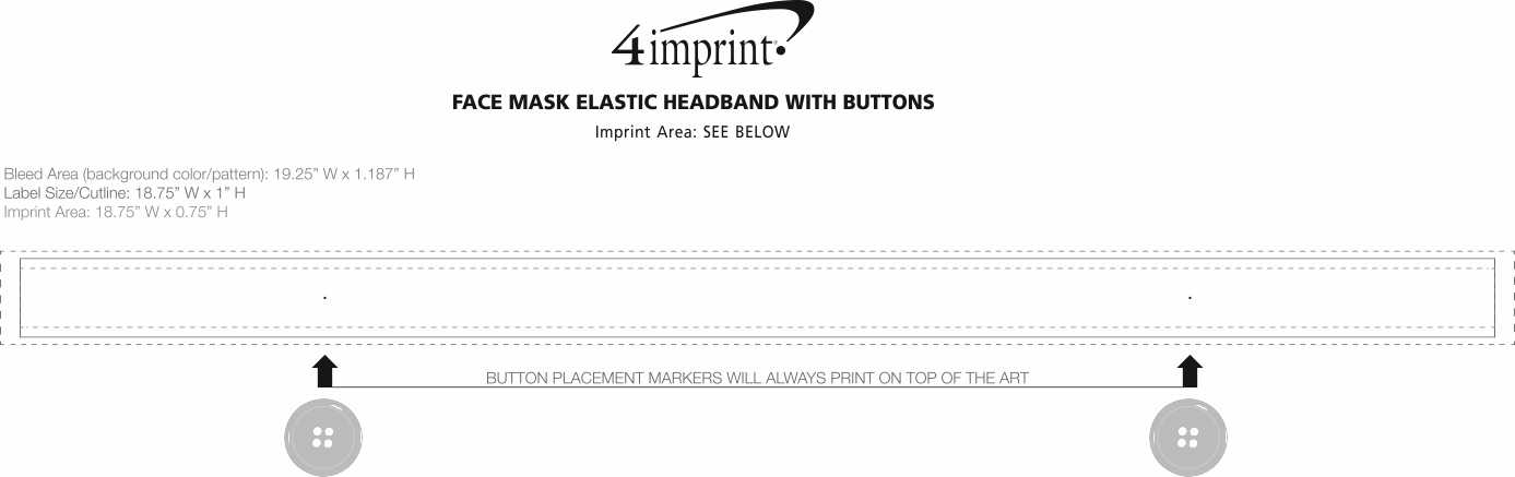 """Imprint Area of Elastic Headband with Face Mask Buttons - 1"""""""