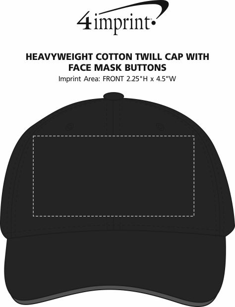 Imprint Area of Heavyweight Cotton Twill Cap with Face Mask Buttons