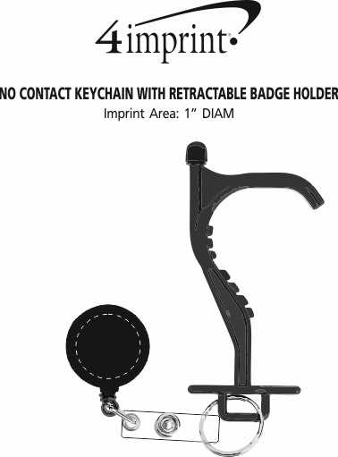 Imprint Area of No Contact Keychain with Retractable Badge Holder