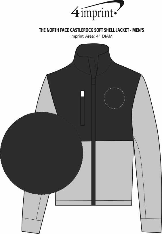 Imprint Area of The North Face Castlerock Soft Shell Jacket - Men's