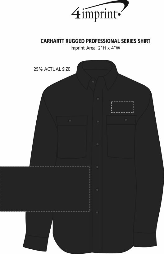 Imprint Area of Carhartt Rugged Professional Series Shirt