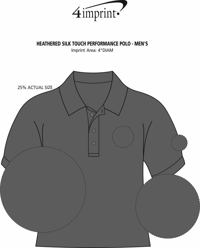 Imprint Area of Heathered Silk Touch Performance Polo - Men's