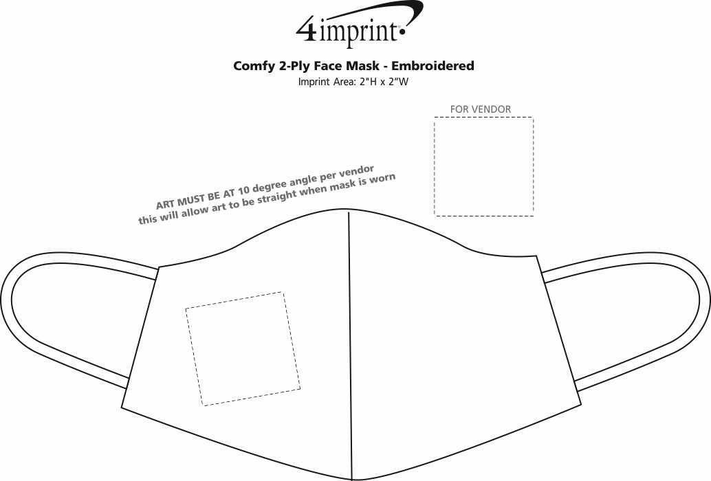 Imprint Area of Comfy 2-Ply Face Mask - Embroidered