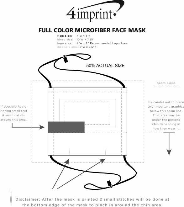 Imprint Area of Full Color Microfiber Face Mask