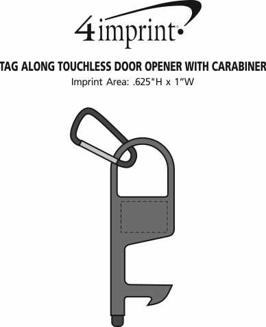 Imprint Area of Tag Along Touchless Door Opener with Carabiner