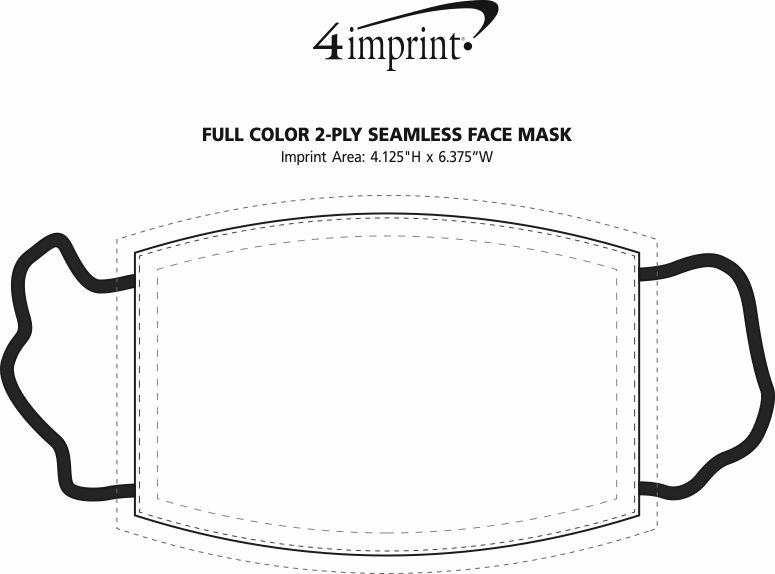 Imprint Area of Full Color 2-Ply Seamless Face Mask