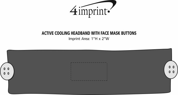 Imprint Area of Active Cooling Headband with Face Mask Buttons