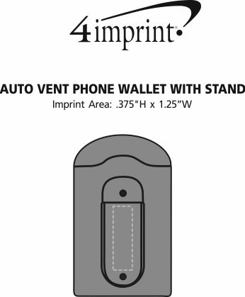 Imprint Area of Auto Vent Phone Wallet with Stand