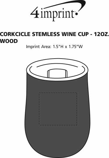 Imprint Area of Corkcicle Stemless Wine Cup - 12 oz. - Wood