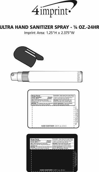 Imprint Area of Ultra Hand Sanitizer Spray - 1/4 oz. - 24 hr