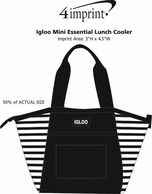 Imprint Area of Igloo Mini Essential Lunch Cooler