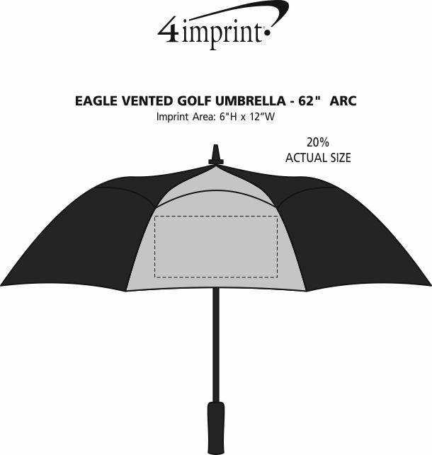 "Imprint Area of Eagle Vented Golf Umbrella - 62""  Arc"