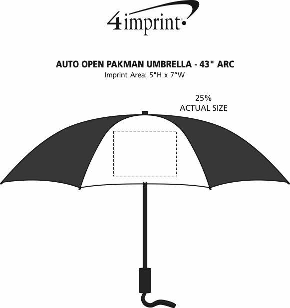 "Imprint Area of Auto Open Pakman Umbrella - 43"" Arc"
