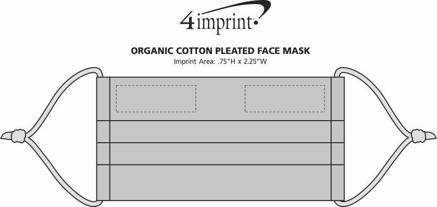 Imprint Area of Organic Cotton Pleated Face Mask