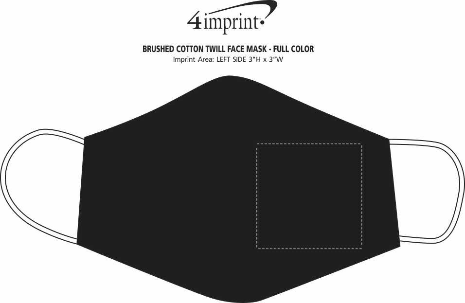 Imprint Area of Brushed Cotton Twill Face Mask - Full Color