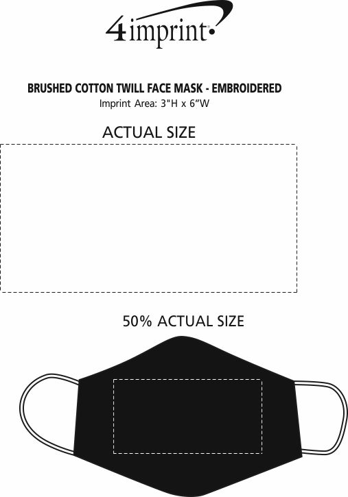 Imprint Area of Brushed Cotton Twill Face Mask - Embroidered