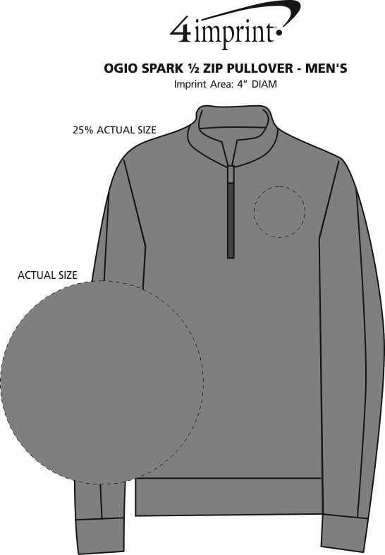 Imprint Area of OGIO Spark 1/2-Zip Pullover - Men's
