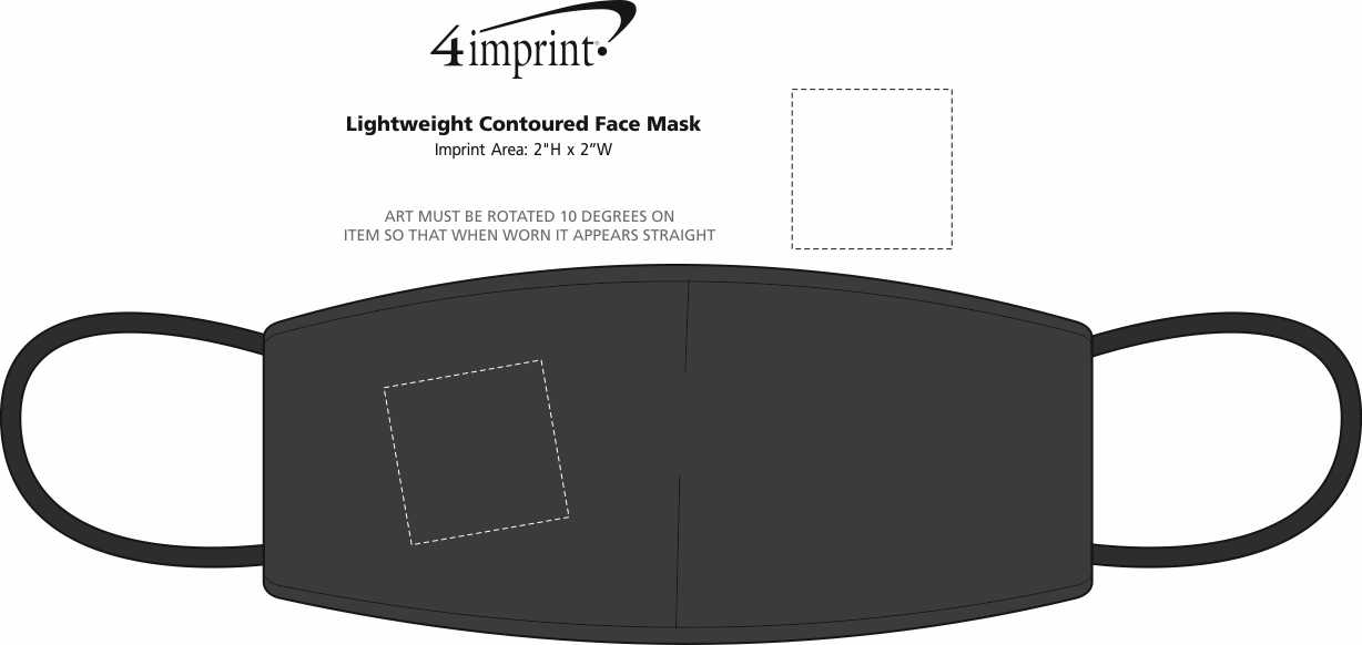 Imprint Area of Lightweight 2-Ply Contoured Face Mask
