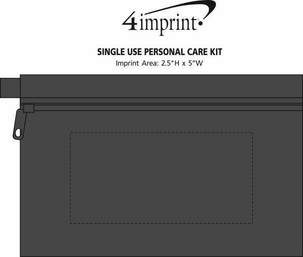 Imprint Area of Single Use Personal Care Kit