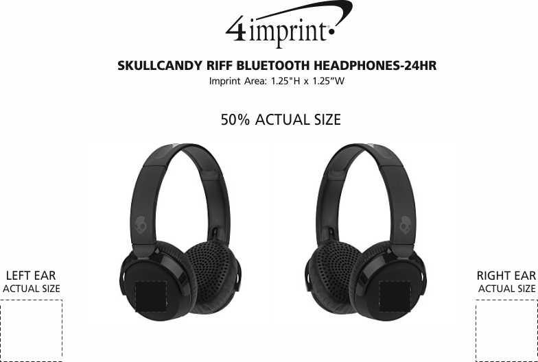 Imprint Area of Skullcandy Riff Bluetooth Headphones - 24 hr