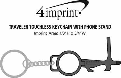 Imprint Area of Traveler Touchless Keychain with Phone Stand