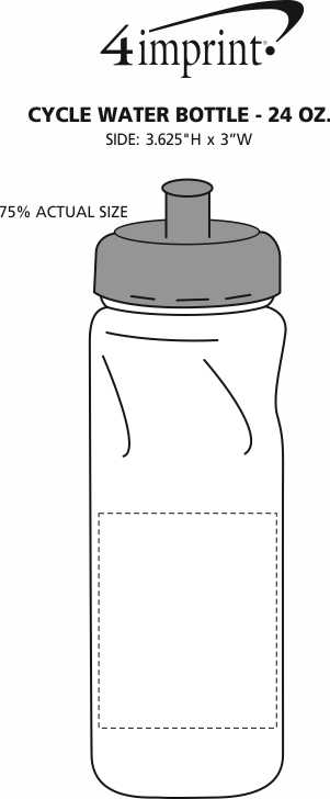 Imprint Area of Cycle Water Bottle - 24 oz.