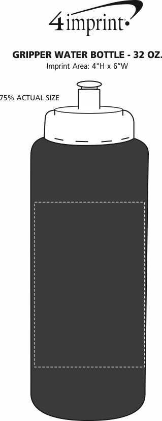 Imprint Area of Gripper Water Bottle - 32 oz.