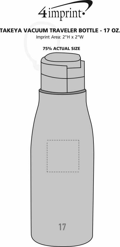 Imprint Area of Takeya Vacuum Traveler Bottle - 17 oz.