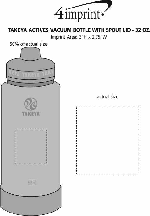 Imprint Area of Takeya Actives Vacuum Bottle with Spout Lid - 32 oz.