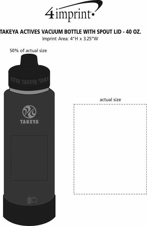 Imprint Area of Takeya Actives Vacuum Bottle with Spout Lid - 40 oz.