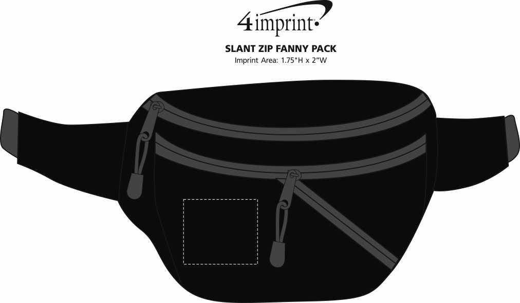 Imprint Area of Slant Zip Fanny Pack