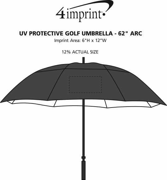 "Imprint Area of UV Protective Golf Umbrella - 62"" Arc"