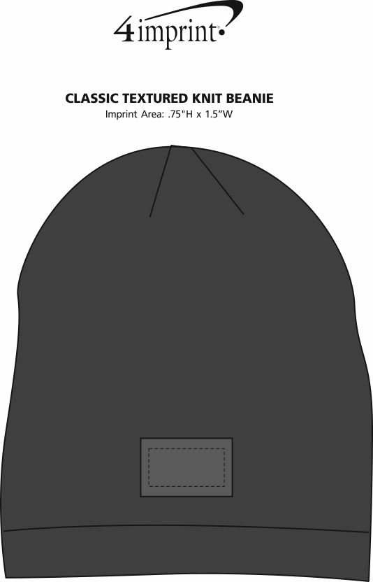 Imprint Area of Classic Textured Knit Beanie