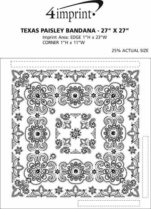 "Imprint Area of Texas Paisley Bandana - 27"" x 27"""